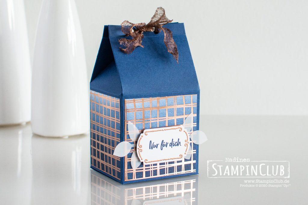 Stampin' Up!, StampinClub, Florale Etiketten, Besonderes Designerpapier Blütenglanz, Milchkarton