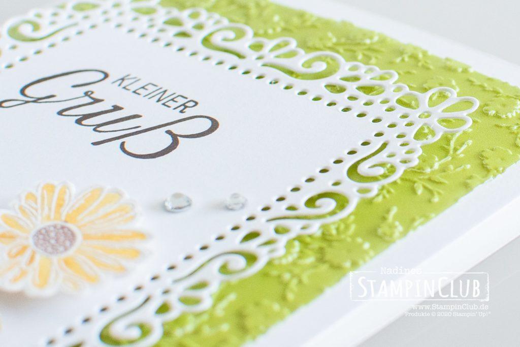 Blumenmeer, Stampin' Up!, StampinClub, Stanzformen Dekorative Rahmen, Ornate Layers Dies, Ornate Style, Blühende Worte, 3D Prägeform Blumenmeer, Ornate Floral 3D Embossing Folder