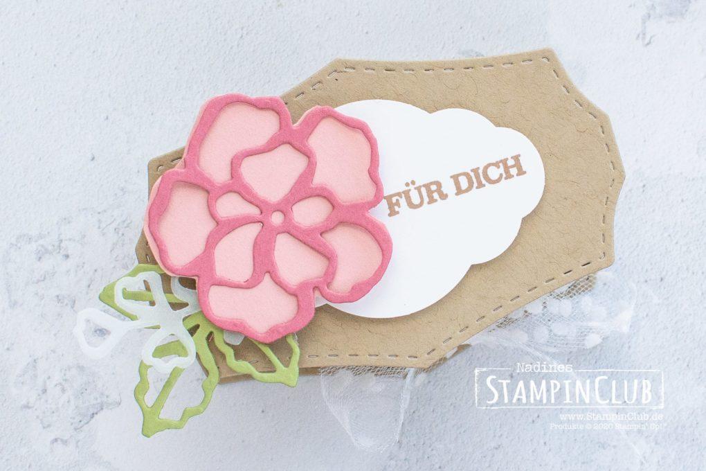 Stampin' Up!, StampinClub, Verpackung, Stanzformen Wildrosentraum, Zum Geburtstag für dich, Stanze Zier-Etikett