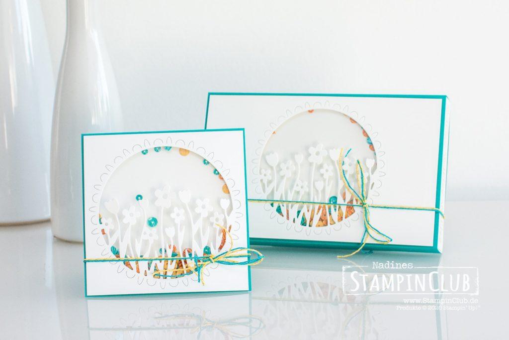 Toffifee®-Verpackung, Stampin' Up!, StampinClub, Toffifee, Toffifee Verpackung, Stanzformen Blumenwiese, Schüttelkarte, Shaker Card