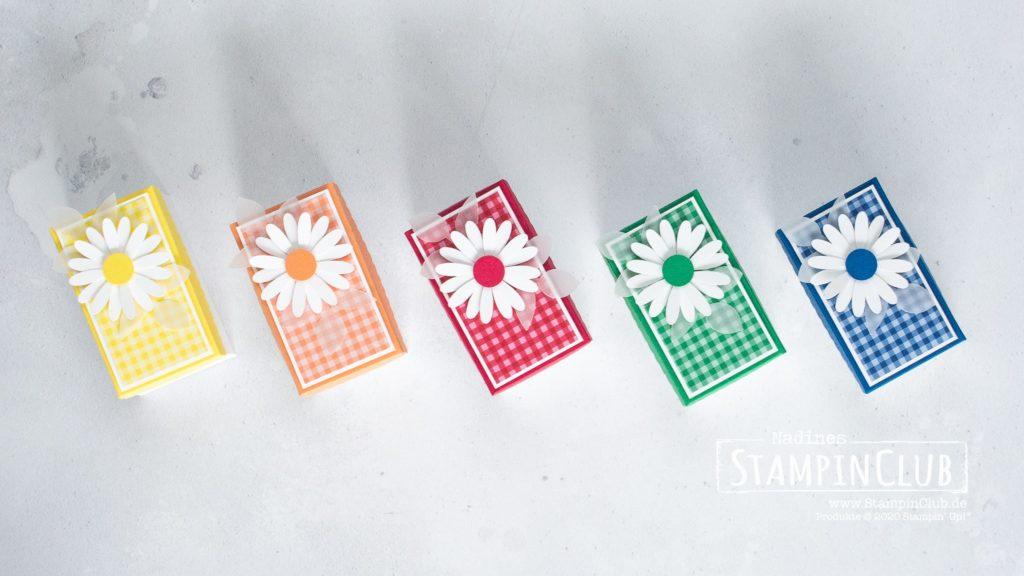 Stampin' Up!, StampinClub, In Color, Verpackung basteln, Stanzformen So hübsch bestickt, Gänseblümchen, gewellte Kante, Wellenrechteck