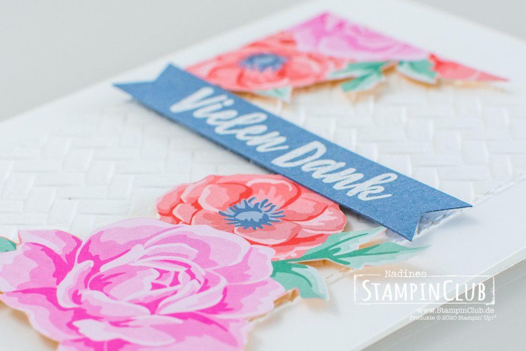 Stampin' Up!, StampinClub, Designerpapier Blumen für jede Jareszeit, Flowers for Every Season DSP, Frühlingsfreuden, Prägeform Strandmatte, Stanzformen Dekorative Rahmen, Stanzformen Bestickte Rechtecke