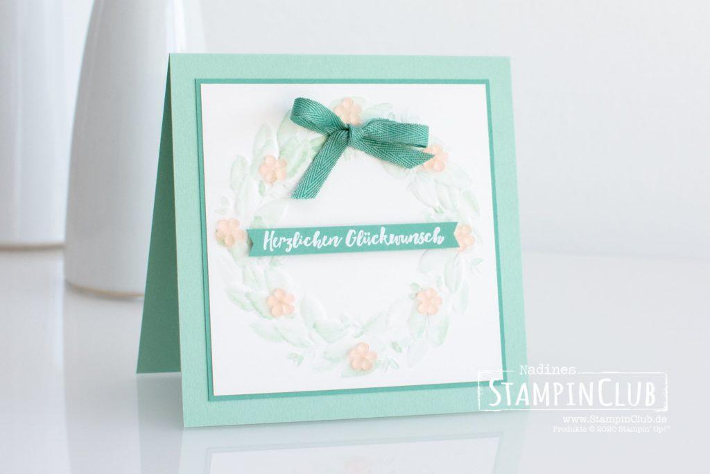 Blätterkranz, Stampin' Up!, StampinClub, Eisblüten, Prägeform Blätterkranz, Aqua Painter