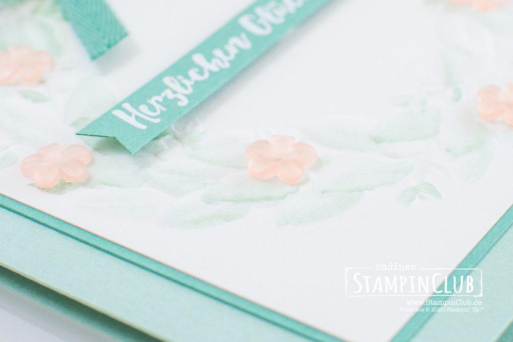 Stampin' Up!, StampinClub, Eisblüten, Prägeform Blätterkranz, Aqua Painter