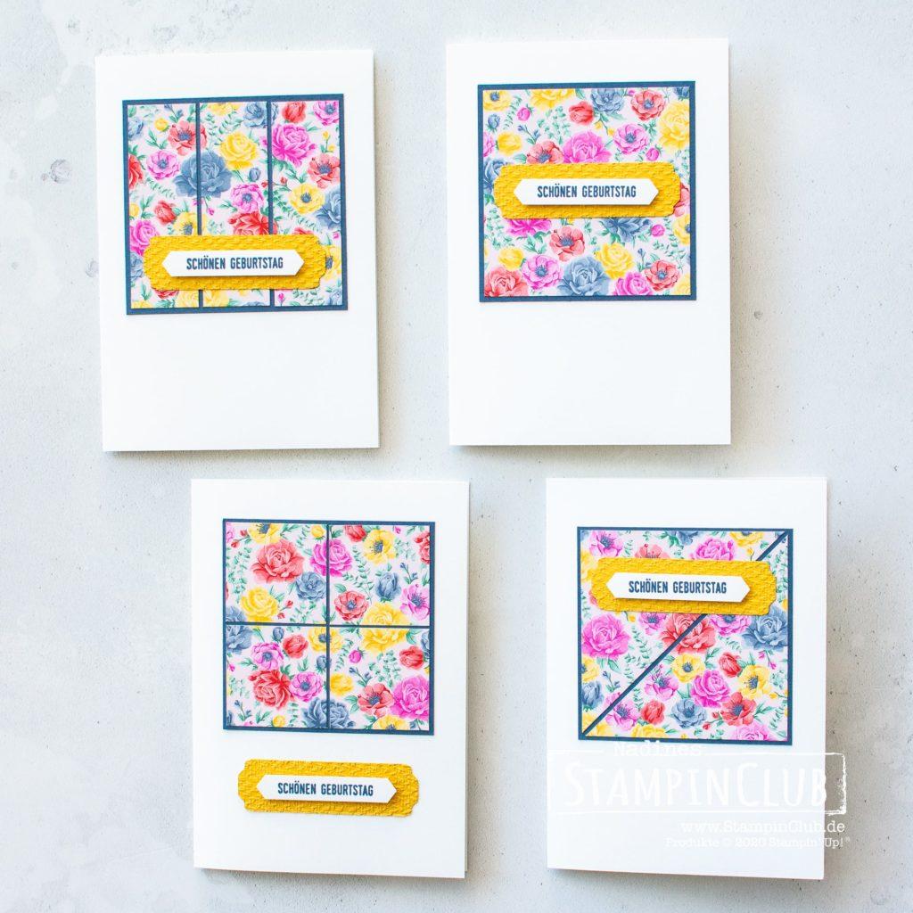 """Stampin' Up!, StampinClub, One Sheet Wonder, 6"""" x 6"""", Klitzelkleine Grüße, DP Blumen für jede Jahreszeit, Stanze Klassisches Etikett, Stanze nach Wahl Allerliebste Anhänger"""