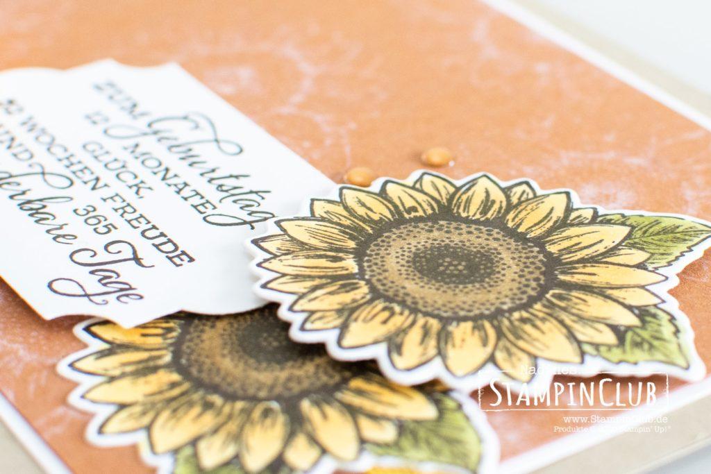 Stampin' Up!, StampinClub, Bleiche, Bleach, mit Bleiche stempeln, Gute-Laune-Gruss, Celebrate Sunflowers, Stanzformen Sonnenblumen, Sunflowers Dies, Stampin' Blends