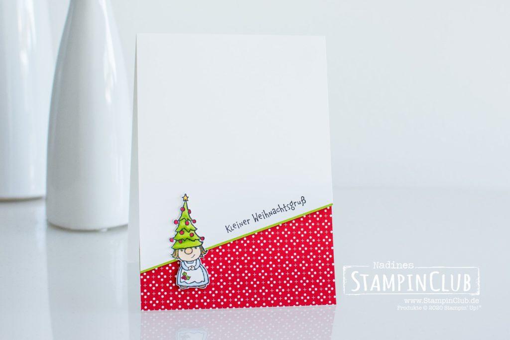 Einfache Wichtelweihnacht Weihnachtskarte, Stampin' Up!, StampinClub, Minikatalog AUG-DEZ 2020, Wichtelweihnacht, Gnome for the Holidays, Designerpapier Weihnachten im Herzen, Heartwarming Hugs DSP, Weihnachtskarte 2020, Weihnachtskarten 2020