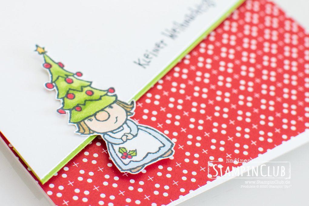 Stampin' Up!, StampinClub, Minikatalog AUG-DEZ 2020, Wichtelweihnacht, Gnome for the Holidays, Designerpapier Weihnachten im Herzen, Heartwarming Hugs DSP, Weihnachtskarte 2020, Weihnachtskarten 2020