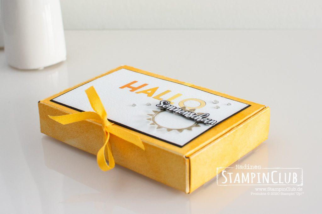 Stampin' Up!, StampinClub, Inlay Die Cutting, Sonne Pur, Box of Sunshine, Stanzformen Buchstabenmix, Playful Alphabet, Paper Pumpkin-Minischachtel, Mini Paper Pumpkin Boxes
