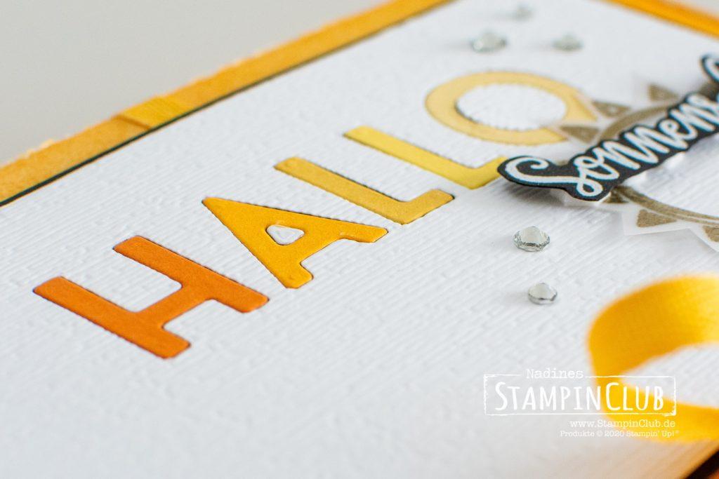 Hallo Sonnenschein, Stampin' Up!, StampinClub, Inlay Die Cutting, Sonne Pur, Box of Sunshine, Stanzformen Buchstabenmix, Playful Alphabet, Paper Pumpkin-Minischachtel, Mini Paper Pumpkin Boxes