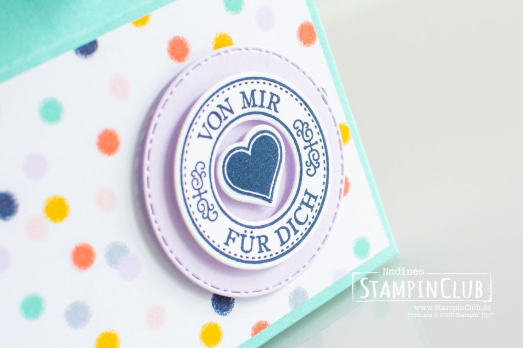 Stampin' Up!, StampinClub, Designerpapier Jede Menge Muster, Playing with Patterns DSP, Herzerwärmend, Warm Hugs, Stanzformen Becker-Banderolen, Warm Wraps Dies, Verpackung