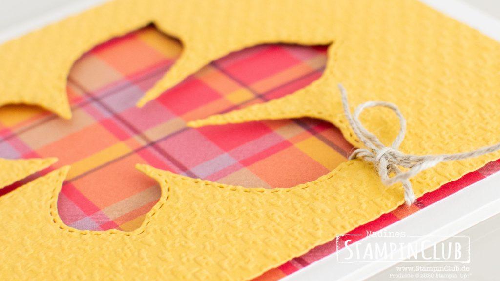 Stampin' Up!, StampinClub, Designerpapier Feiertagskaros, Plaid Tidings DSP, Wunderbare Blätter, Love of Leaves, Stanzformen Bestickte Blätter, Stitched Leaves Dies