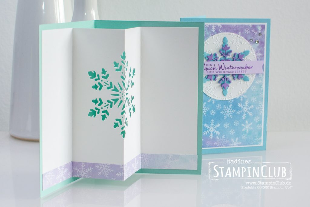 Stampin' Up!, StampinClub, Designerpapier Schneeflockentraum, Schneeflockenwünsche, Stanzformen So viele Flocken, 3D Prägeform Schneekristalle, Winter Snow Embossing Folder, Stanze nach Wahl Fähnchen