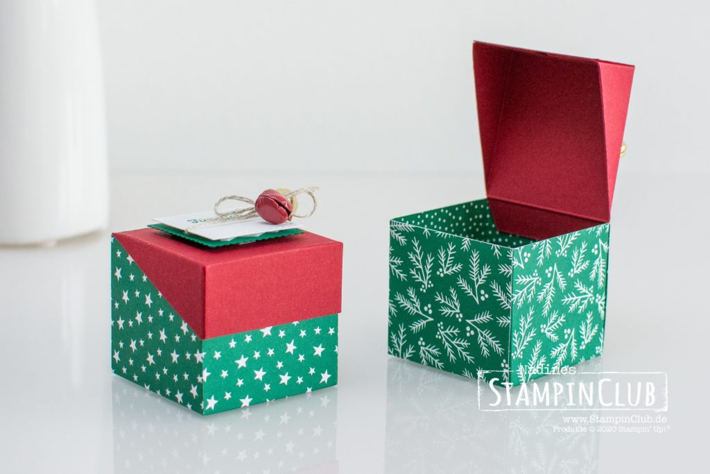 """Mini-Box, Stampin' Up!, StampinClub, Mini-Box, Schräger Deckel, Designerpapier Klassische Weihnachten 6"""" x 6"""" / Classic Christmas DSP, Lagenweise Quadrate, Stanzformen Stickmuster, Klitzekleine Grüße"""