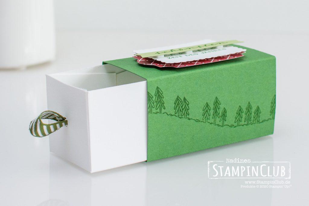 Stampin' Up!, StampinClub, Verpackung, Box, Geschwungene Weihnachten, Curvy Christmas, Designerpapier Klassische Weihnachten, Weihnachtliche Grüße, Wrapped in Christmas, Stanze Rechteckige Briefmarke, Rectengular Postage Stamp, Stanze nach Wahl Fähnchen