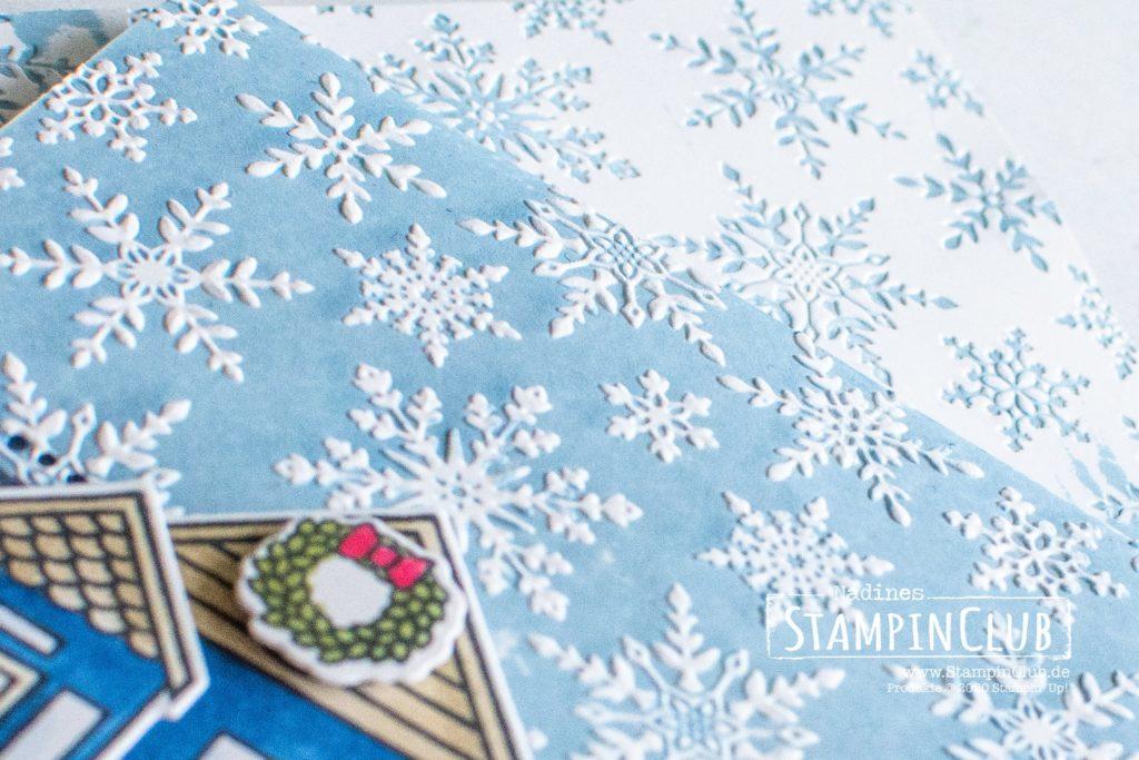 Stempeln mit Prägeformen, Stampin' Up!, StampinClub, Coming Home, 3D Prägeform Schneekristalle, Stanzformen mit Schwung, Curvy Dies, Weihnachtsmix