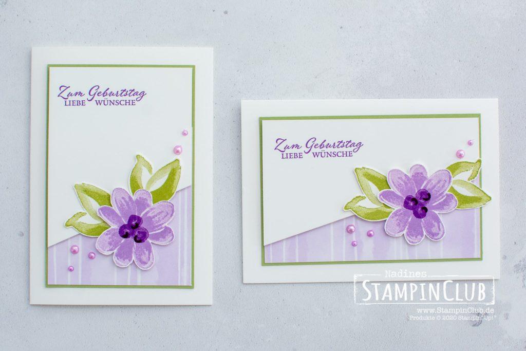Stampin' Up!, StampinClub, Geburtstagskarte, Traumblüten, Gorgeous Posies, Designerpapier Jede menge Muster