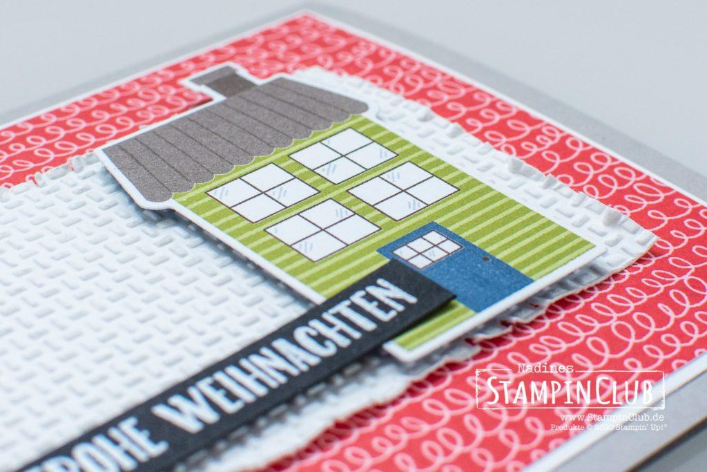 Stampin' Up!, StampinClub, Designerpapier Adventsstädtchen, Stanzformen Unser Zuhause, Fähnchen-Vielfalt, Prägeformen Tolle Texturen