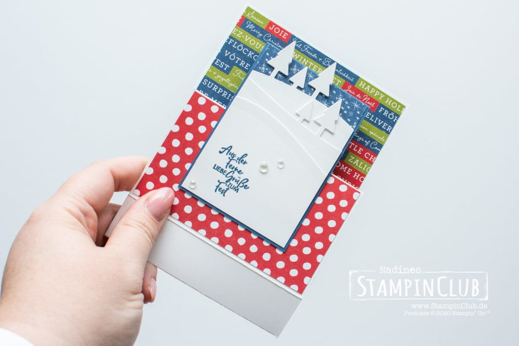 Stampin' Up!, StampinClub, Front Step Panel Card, Fun Fold Card, Coming Home, Designerpapier Adventsstädtchen, Stanzformen Unser Zuhause