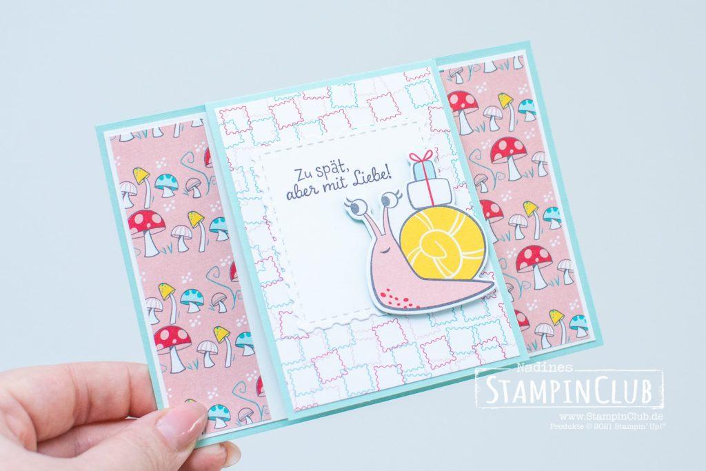 Stampin' Up!, StampinClub, Schneckenpost, Snailed It, Stanzformen Schnecke, Snail Dies, Designerpapier per Schneckenpost, Snail Mail DSP, Front-Flip-Karte
