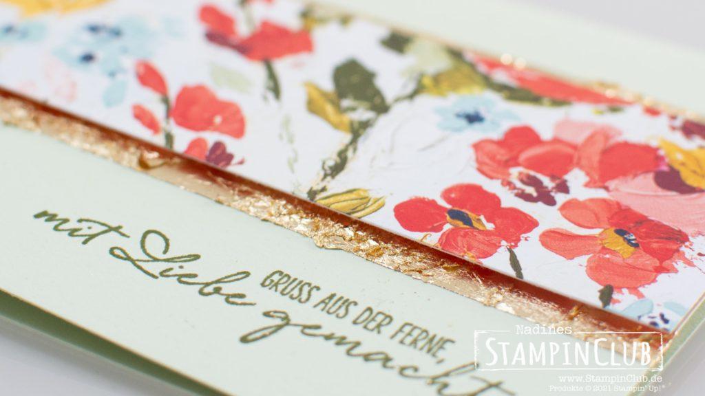 Stampin' Up!®, StampinClub, Deko-Metallblättchen in Gold, Gilded Leafing EMbellishment, Designerpapier Kunstvoll Floral, Fine Art Floral DSP, Wünsche aus dem Garten, Garden Wishes