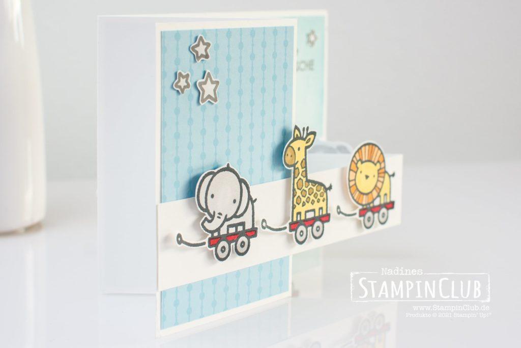 Stampin' Up!, StampinClub, Verspieltes zur Geburt, Baby Pull Toys, Double Z-Fold Karte
