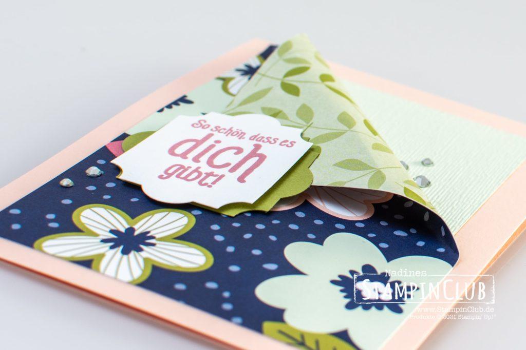 Gestanzte Grüße, Stampin' Up!, StampinClub, Gestanzte Grüße, Punch Party, Designerpapier Papierblüten, Paper Blooms DSP