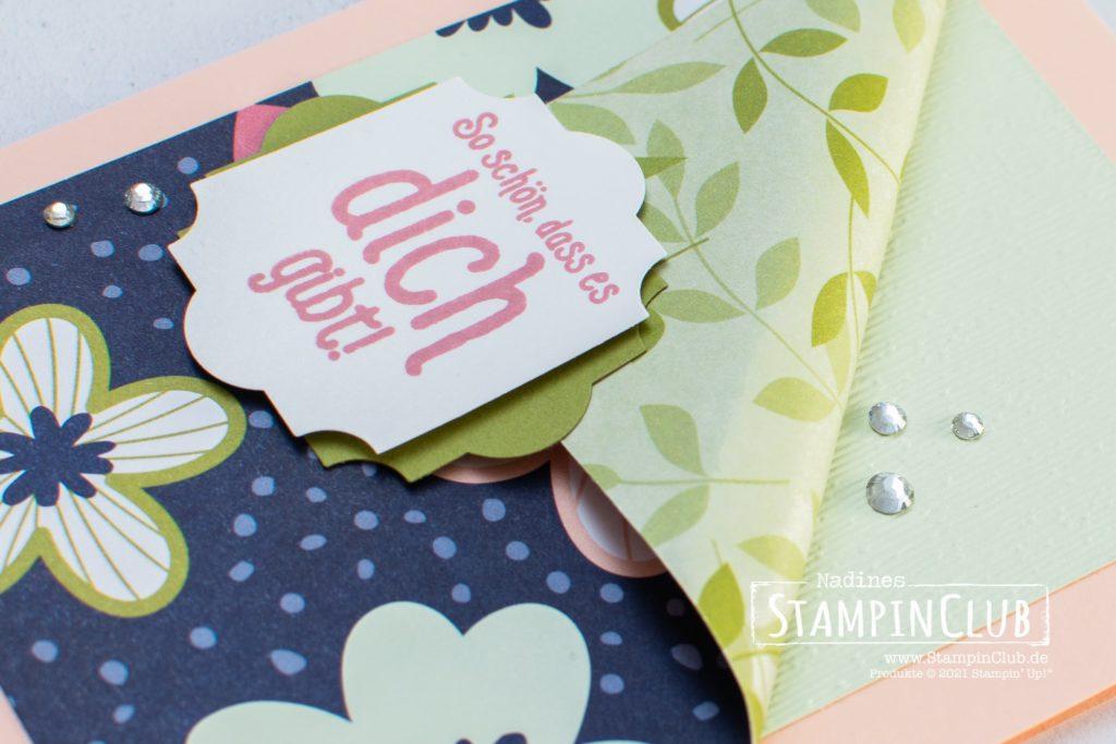 Stampin' Up!, StampinClub, Gestanzte Grüße, Punch Party, Designerpapier Papierblüten, Paper Blooms DSP