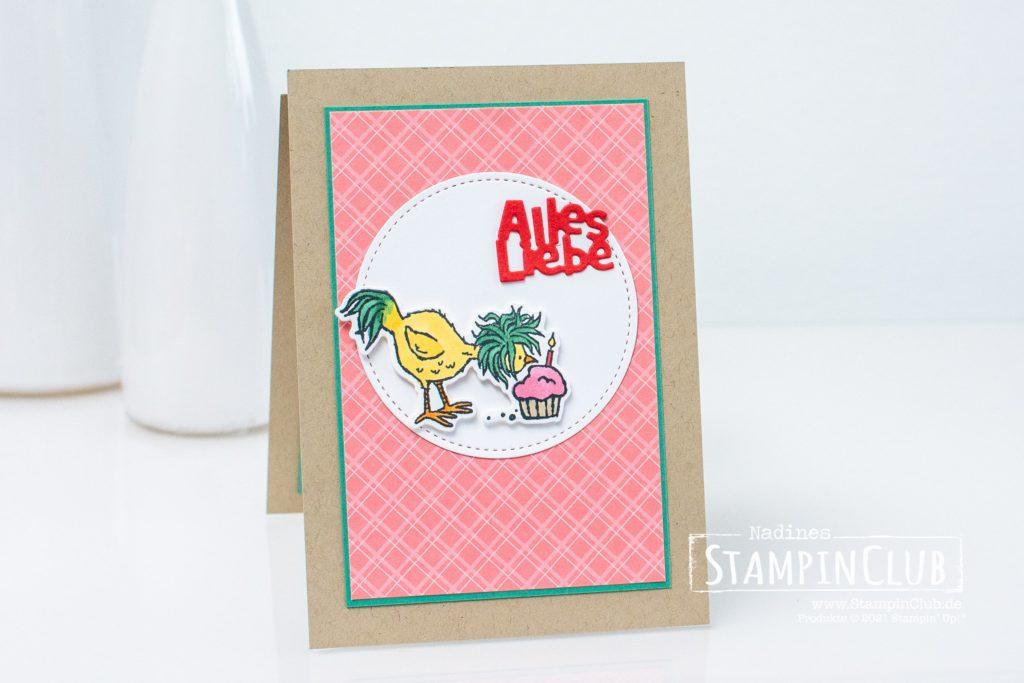 Geburtstagshuhn, Stampin' Up!, StampinClub, Hu(h)ndert gute Wünsche, Hey Birthday Chick, Stanzformen Geburtstagshuhn, Birthday Chick Dies, Fun Fold Card