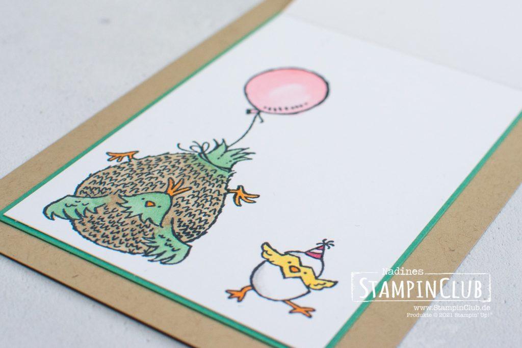 Stampin' Up!, StampinClub, Hu(h)ndert gute Wünsche, Hey Birthday Chick, Stanzformen Geburtstagshuhn, Birthday Chick Dies, Fun Fold Card