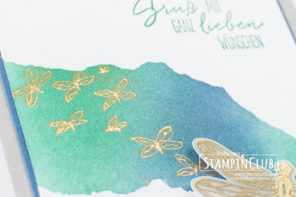 Stampin' Up!, StampinClub, Grußkarte, Libellengarten, Dragonfly Garden, Stanze Libellen, Dragonflies Punch, Blending-Pinsel, Blending-Brushes