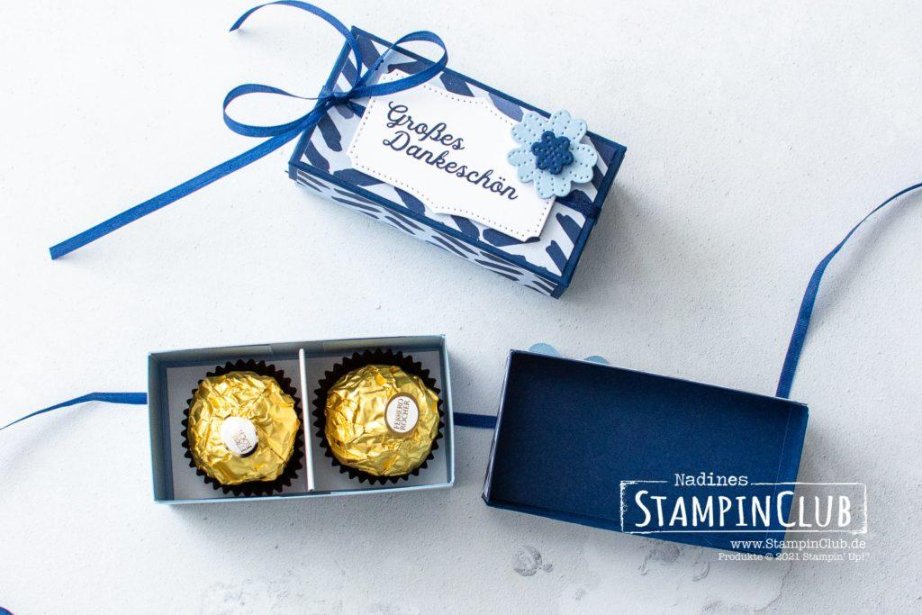 2er Ferrero Rocher Box, Stampin' Up!, StampinClub, Blumenverziert, In Bloom, Stanzformen Perforierte Blumen, Pierced Blooms Dies, Designerpapier Papierblüten, 2er Ferrero Rocher Box