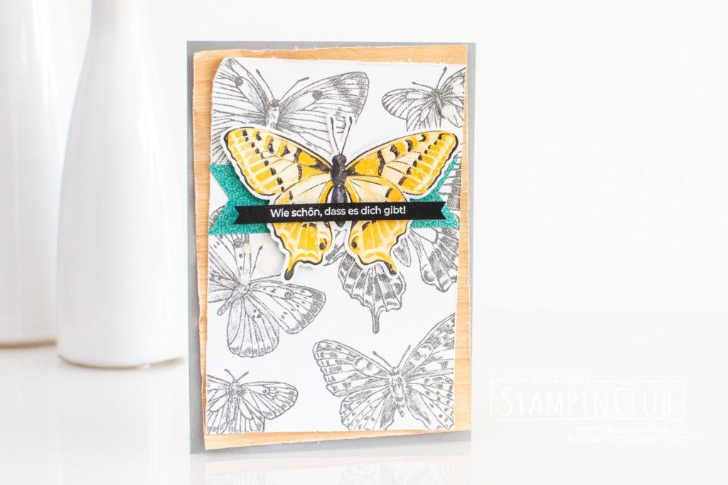 Stampin' Up!, StampinClub, Butterfly Brilliance, Stanzformen Fabelhafte Falter, Brilliant Wings Dies, Designerpapier Schmetterlingsschmuck, Butterfly Bijou DSP, Spezialpapier Holztextur, Natural Touch Speciality Paper