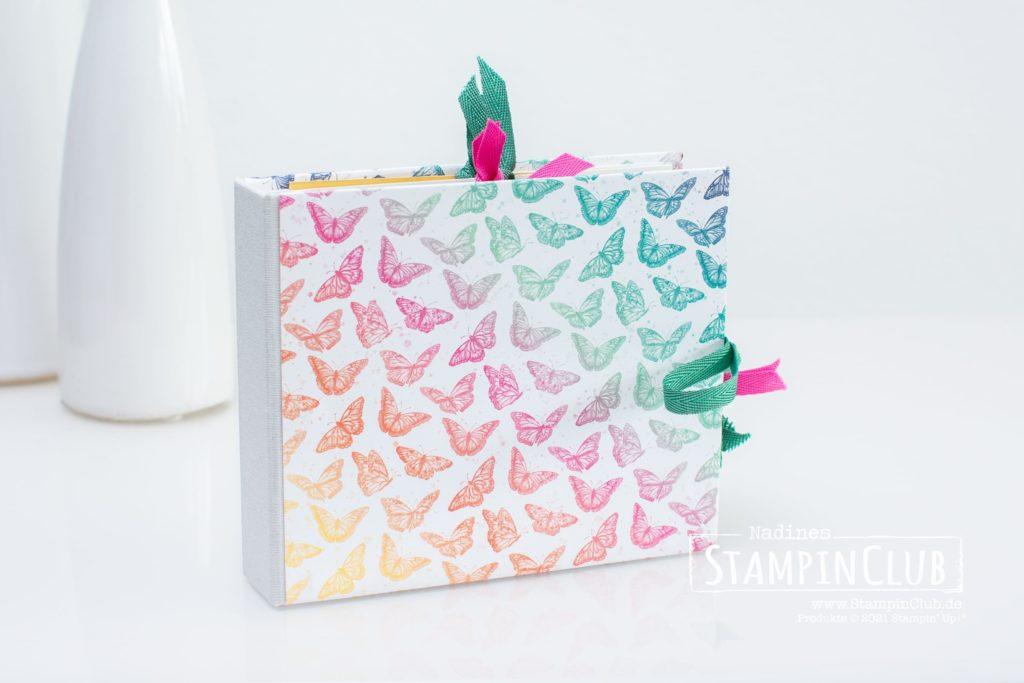 Stampin' Up!, StampinClub, Workshop to Go, Minialbum, Hidden Hinge Binding, Hidden Hinge Bindung, Designerpapier Schmetterlingsschmuck