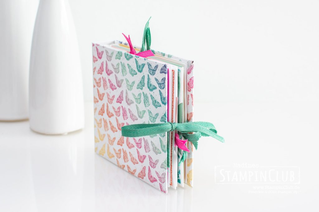 Minialbum Schmetterlingsschmuck, Stampin' Up!, StampinClub, Workshop to Go, Minialbum, Hidden Hinge Binding, Hidden Hinge Bindung, Designerpapier Schmetterlingsschmuck