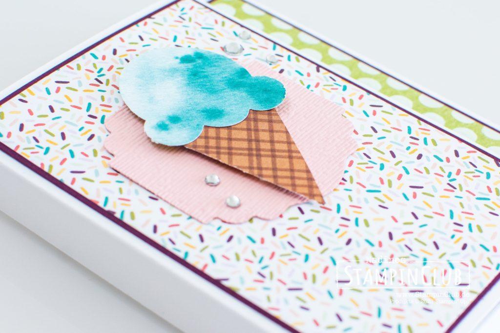 Stampin' Up!, StampinClub, Ritter Sport, Verpackung, Designerpapier Eisdiele, Ice Cream Corner DSP, Elementstanze Eistüte, Ice Cream Cone Builder Punch, Stanze Entzückendes Etikett, Eiszeit, Sweet Ice Cream