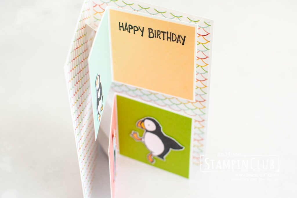 Stampin' Up!, StampinClub, Party Puffins, Designerpapier Mustermix, Pattern Party DSP, Double Fold-Out Karte
