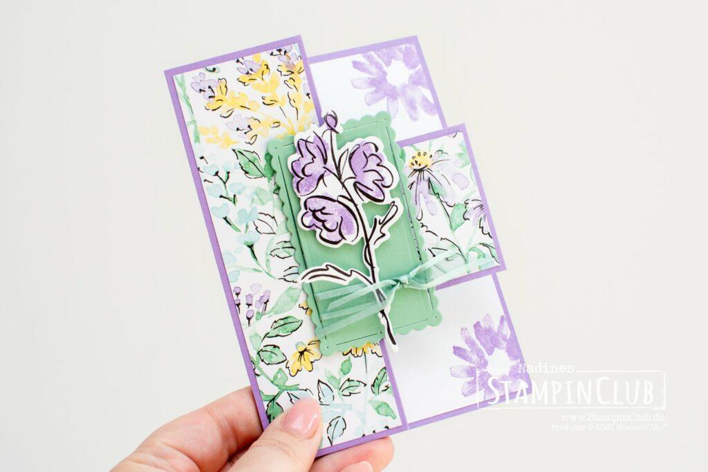 Stampin' Up!, StampinClub, Designerpapier Von Hand gemalt, Hand-penned DSP, Konturiert und Koloriert, Color & Contour, Stanzformen Gewellte Konturen, Scalloped Contours Dies, Multi-Fold-Card, Multi-Fold-Karte, easy tri-fold card