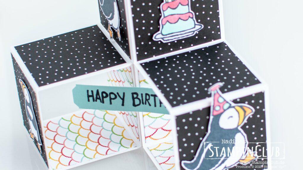 Stampin' Up!, StampinClub, Triple Pop-Up Cube Karte, Party Puffins, Designerpapier Mustermix, Pattern Party DSP, Stanze nach Wahl allerliebste Anhänger