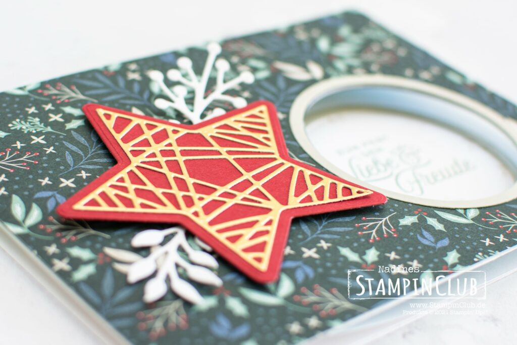 Stampin' Up!, StampinClub, Peek-a-Boo Card, Peel-a-Boo Karte, Designerpapier Wunderbar Weihnachtlich, Tidings of Christmas DSP, Stanzformen Weihnachtszierde, Christmas Trimmings Dies, Weihnachtliche Zierde, Tidings and Trimmings