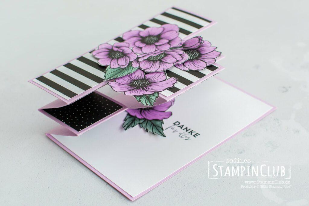 Tri-Fold-Karte Wahre Liebe, Stampin' Up!, StampinClub, Designerpapier Mustermix, Stampin' Blends, Designerpapier Wahre Liebe, True Love DSP