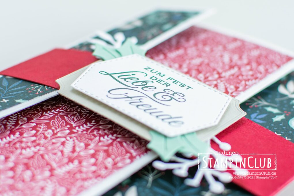 Stampin' Up!, StampinClub, Tri-Fold Card, Tri-Fold-Karte, Designerpapier Wunderbar Weihnachtlich, Tidings of Christmas DSP, Stanzformen Weihnachtszierde, Christmas Trimmings Dies, Weihnachtliche Zierde, Tidings and Trimmings