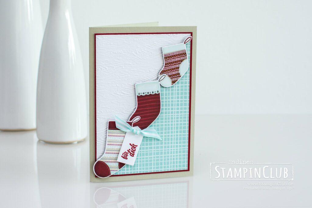 Stampin' Up!, StampinClub, Designerpapier Weihnachten im Strumpf, Sweet Stockings DSP, Stanzformen im Strumpf, Stockings Dies, Festliche Strümpfe, Sweet Little Stockings, Prägeform Holzstruktur 3D, Timber 3D Embossing Folder