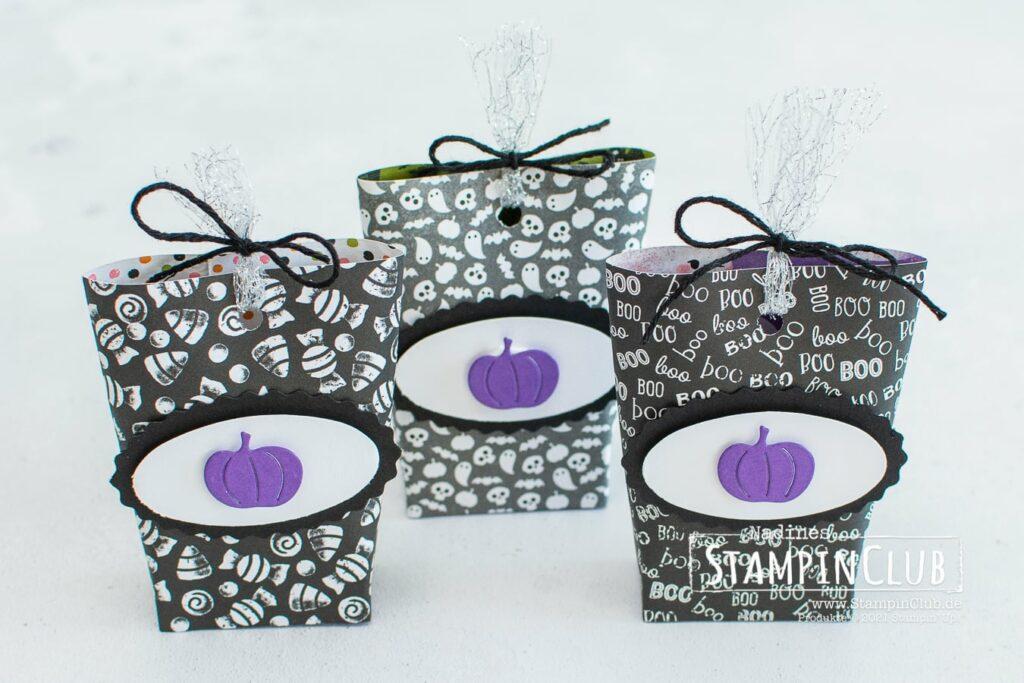 Heiteres Halloween, Stampin' Up!®, StampinClub, Mini Box in a Bag, Designerpapier Heiteres Halloween, Cute Halloween DSP, Stanze Oval-Duo, Stanzformen Herbst- und Winterkränze, Seasonal Swirls Dies