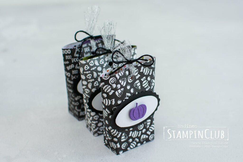 Stampin' Up!®, StampinClub, Mini Box in a Bag, Designerpapier Heiteres Halloween, Cute Halloween DSP, Stanze Oval-Duo, Stanzformen Herbst- und Winterkränze, Seasonal Swirls Dies