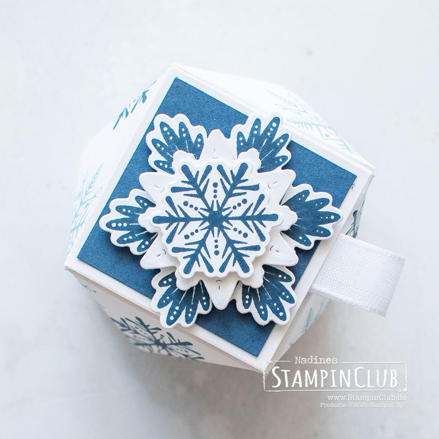 Stampin' Up!, StampinClub, Verpackung, Mini-Facetten-Box, Flockenwünsche, Merry Snowflakes, Stanzformen, Bestickte Schneeflocken, Stitched Snowflakes Dies