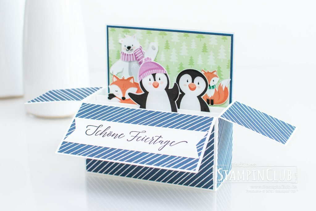 Pinguin & Co, Stampin' Up!, StampinClub, Designerpapier Pinguin & Co, Penguin Playmates DSP, Sale-A-Bration, Sale-A-Bration 2021, Karte in einer Box, Card in a Box, Herzliche Grüße, Heartfelt Wishes, Pop-Up Karte
