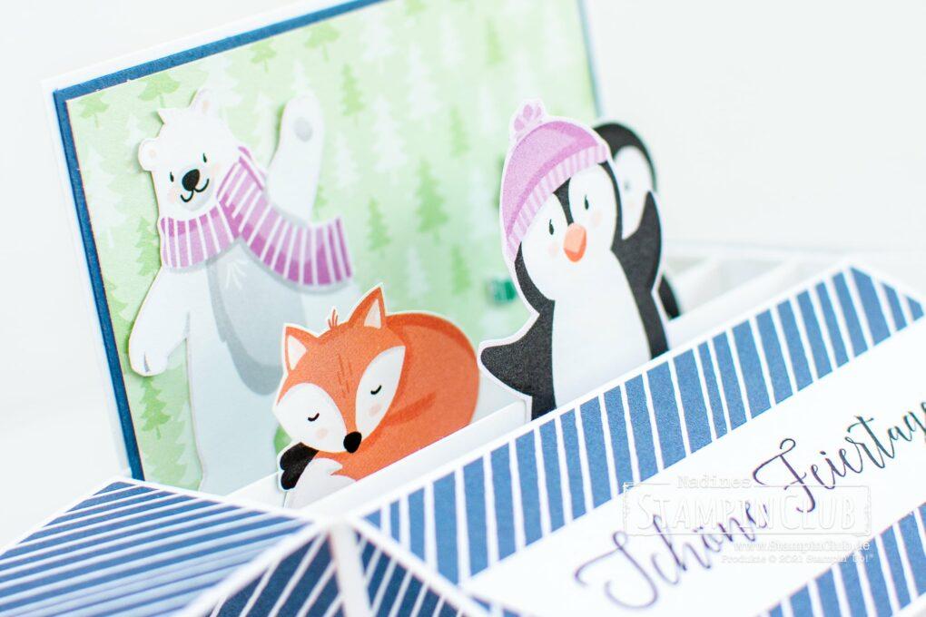 Stampin' Up!, StampinClub, Designerpapier Pinguin & Co, Penguin Playmates DSP, Sale-A-Bration, Sale-A-Bration 2021, Karte in einer Box, Card in a Box, Herzliche Grüße, Heartfelt Wishes, Pop-Up Karte