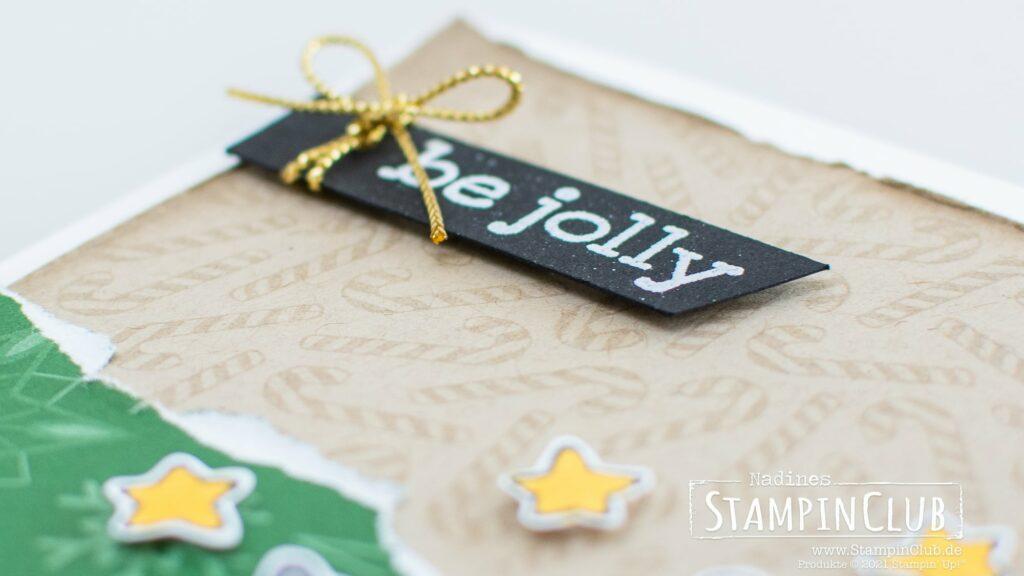 Stampin' Up!, StampinClub, Weihnachten, Be Jolly, Stampin' Blends Alkoholmarker, Sale-A-Bration 2021, Designerpapier Weihnachtliche Prints, Peaceful Prints DSP, Weihnachtskarte, Hintergrundstempel Candy Canes, Candy Canes Background Stamp