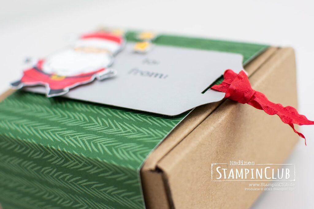 Stampin' Up!, StampinClub, Weihnachten, Be Jolly, Stampin' Blends Alkoholmarker, Sale-A-Bration 2021, Designerpapier Weihnachtliche Prints, Peaceful Prints DSP, Stanze Hübsche Anhänger, Fancy Tag Topper Punch